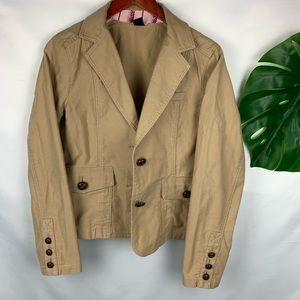 Gap Tan Classic Twill Weave Blazer Turtle Buttons
